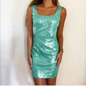 Vintage Adrianna Papell Aqua Sequin Mini Dress